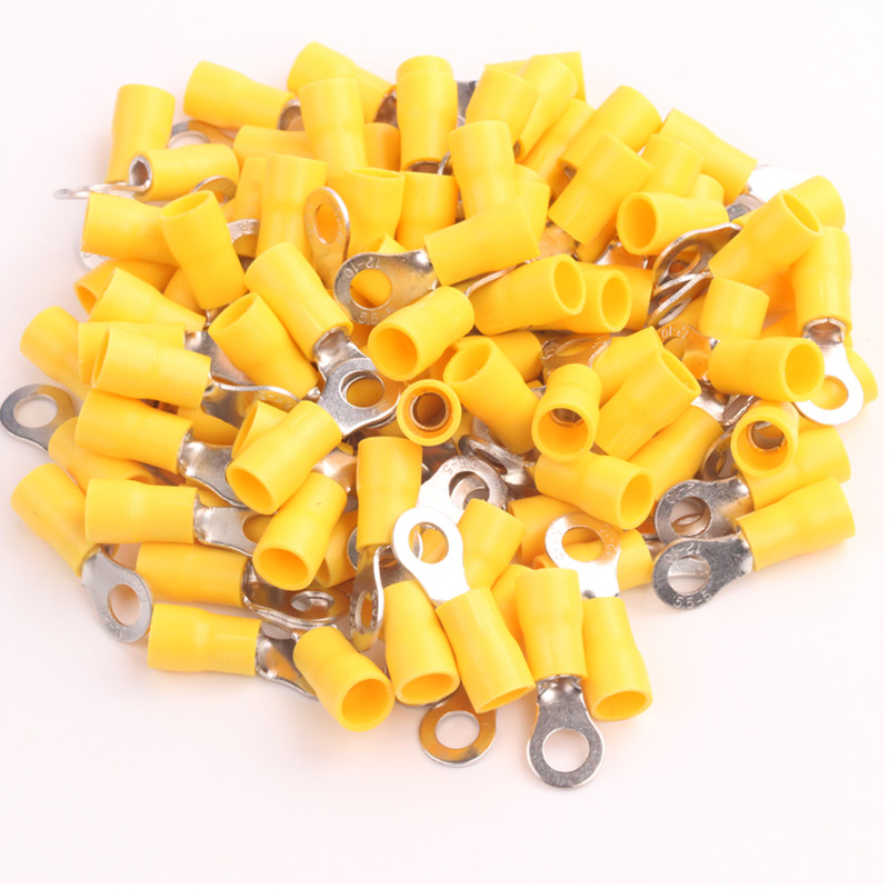 цена на 10x25PCS New AWG 12-10 Yellow Insulated Ring 5mm Connectors crimp terminals Vinyl Gauge Wire Car Audio