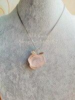 LII Ji натуральный розовый кварц цветок 925 стерлингового серебра кулон