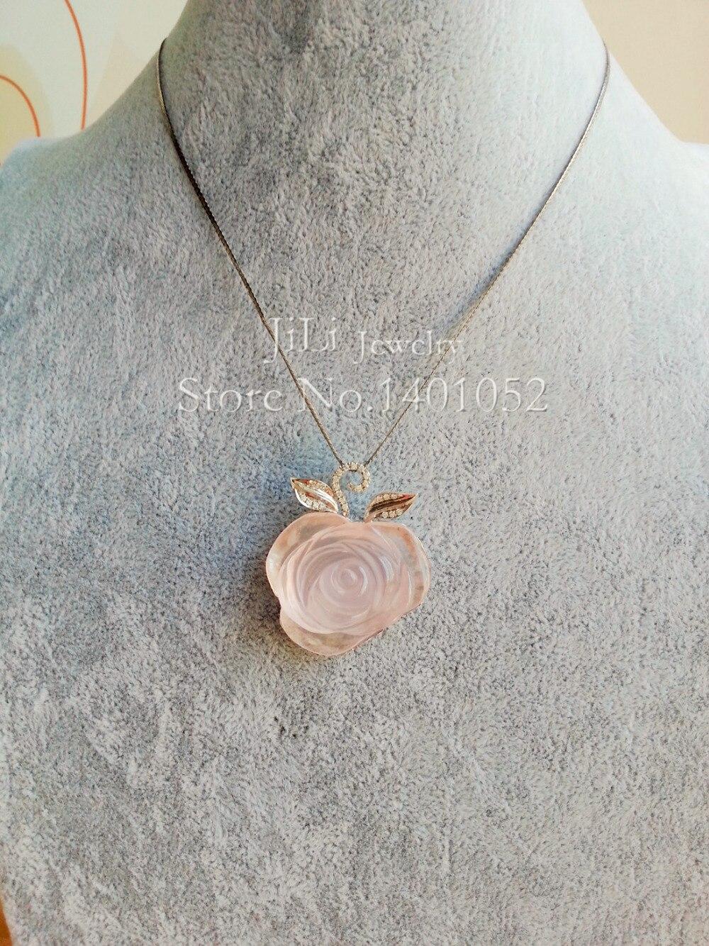 Lii Ji Naturel Rose Quartz Fleur 925 En Argent Sterling Pendentif