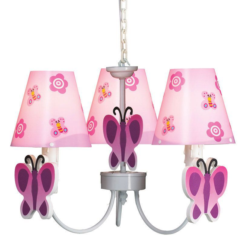 Cute Pink Butterfly Princess Room Chandelier Girl's Room Hanging Lamps Kid's Children's Chandelier Fixtures