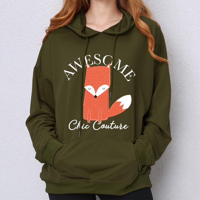 Fox Hoodie Sweatshirt Women Printed Awesome Chic Couture Cartoon Kawaii Pullover Cute Animal Loose Kpop Hoody
