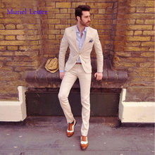 ML28 Two Buttons Beige Notch Lapel 2 Pieces Suits (Jacke+Pant) Fashion Charming Handsome Mens Suits Bespoke Terno Masculino Slim(China)