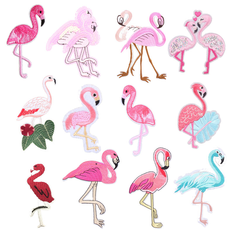 Flamingo Animal Patches For Clothing Iron On Embroidered Sewing Applique Cute On Fabric Badge DIY Apparel Accessori Decoration