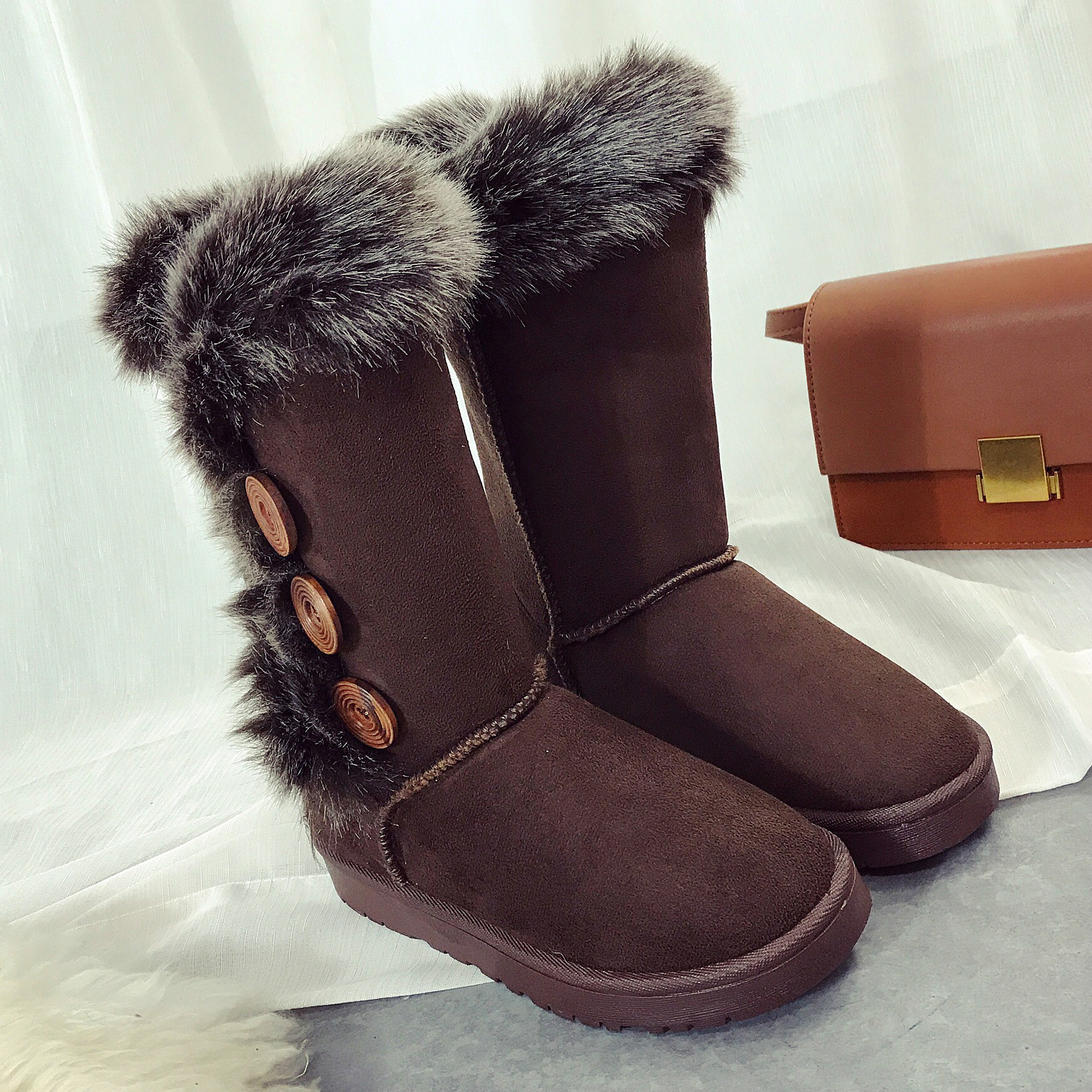 2017 -06 Women Winter Shoes Soft Comfortable Cotton fur Snow Boots High Quality Female Footwear Ankle Boots Ladies button UGS03 spring autumn boots women soft footwear classic boots female comfortable outdoor shoes aa20131