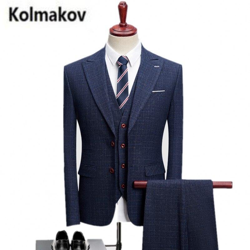 (Пиджак + брюки + жилет) kolmakov Новинка 2017 зимние высококачественные свадебные костюмы, однобортный пиджак мужчины, мужская Бизнес пиджак.