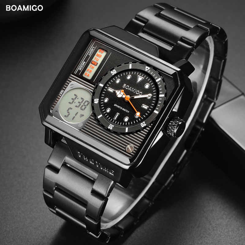 2019 新ファッション BOAMIGO トップブランドの高級メンズ腕時計 30 メートル防水自動日付時計男性デジタルカジュアル腕時計