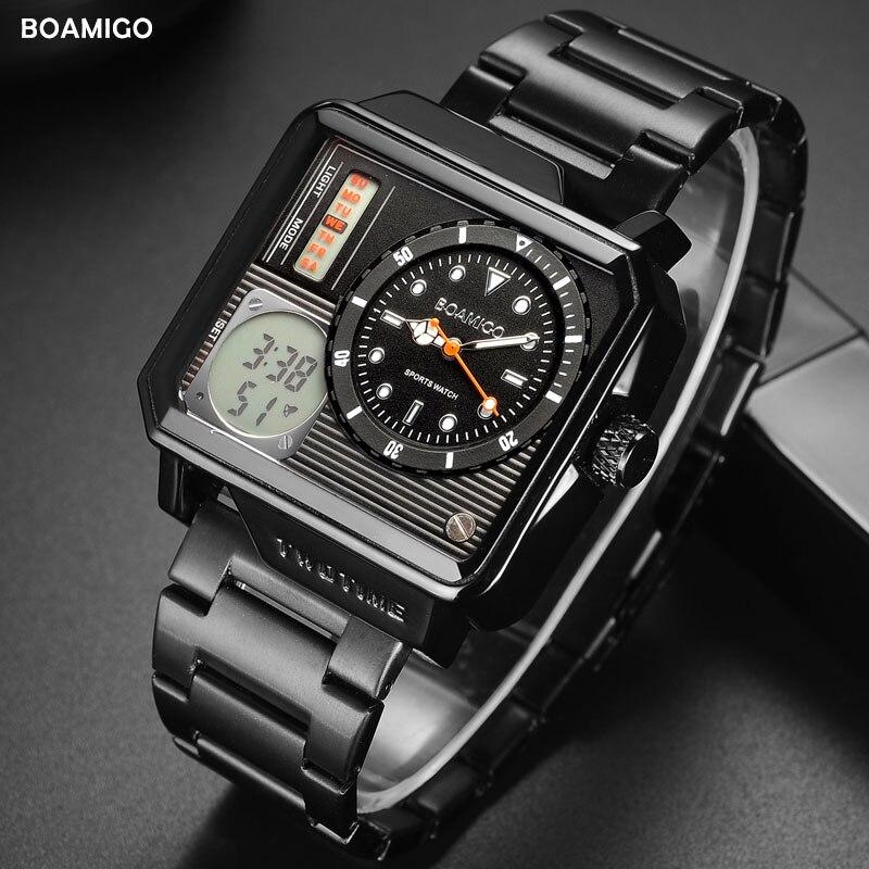 2019 de Moda de Nova BOAMIGO Relógio 30m À Prova D' Água dos homens Top Marca de Luxo Auto Data Relógio Masculino Relógios Homens Digitais relógio de Pulso Casual