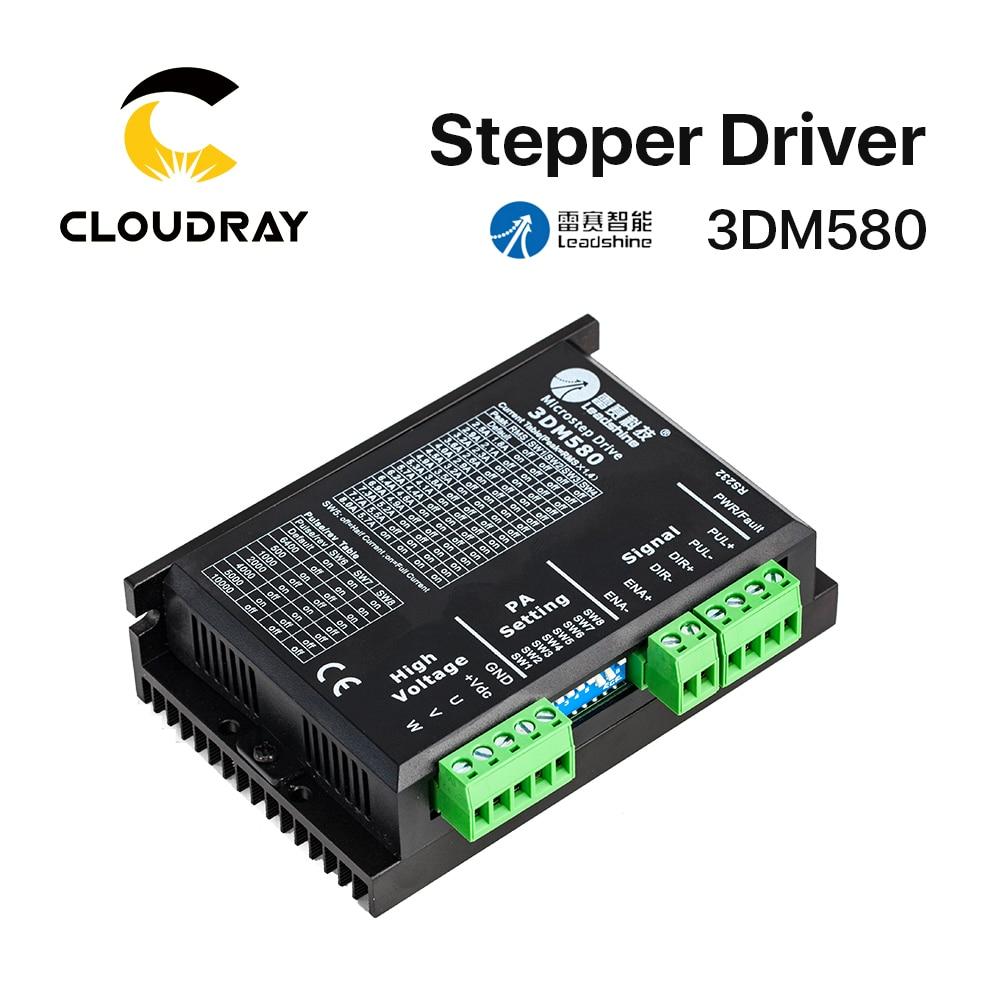 Cloudray Leadshine 3 Phase 3DM580 Stepper Motor Driver 18-50VDC 1.0-8.0A leadshine 3nd583 3 phase stepper motor driver 8 3a 50vdc