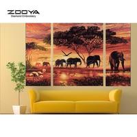 ZOOYA Diamond Embroidery 5D DIY Diamond Painting Forest Elephant 3PCS Diamond Painting Cross Stitch Rhinestone Mosaic