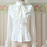 Spring Autumn Elegant Vintage Lace Bow Ruffles Chiffon Lolita Blouse Women Kawaii Solid Long Lantern Sleeve