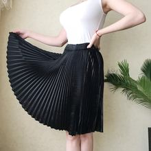 2018 Autumn Women satin Pleated Skirt Midi High Waist Long Skirts Womens Vintage Pleated Solid Faldas Mujer Saias(China)