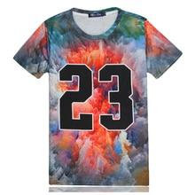 Man Tee 3D T Shirt Men Clouds Number 23 Mens T Shirts Fashion Summer 2016 T-shirt Men Tshirt Hoodies Funny Printed DB076