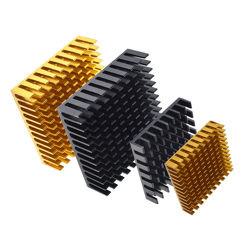 Golden Black Aluminum Radiator IC Heat Sink Heat Sink 40 x 40 mm x 11 mm / <font><b>28</b></font> x <font><b>28</b></font> x 6 / <font><b>25</b></font> mm image