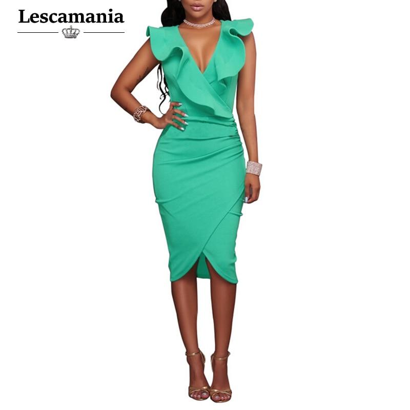 Lescamania Summer Women Sexy Sleeveless Ruffles Mini
