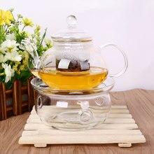 2017 heißer Verkauf Borosilikatglas Teekanne Set w/Infuser Teekanne + Wärmer + 6 Tee Tasse 800 ML