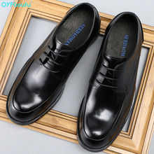 Brand Round Toe Vintage Men Dress Shoes Genuine Leather Lace-up Wedding Business Office Shoes Men Black Formal Shoes men shoes quality leather dress round toe shoe men brand brogue black business wedding casual shoes