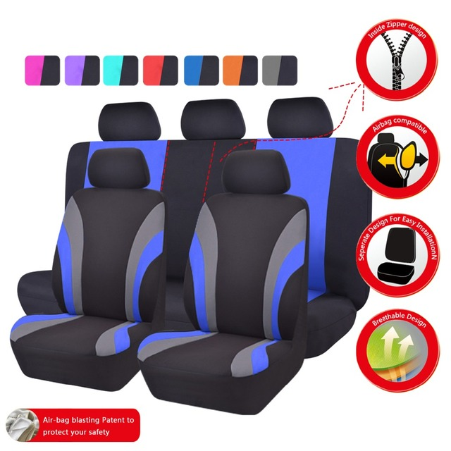New Colorful Sports Series Car Seat Covers, Universal Car Styling, Full Set Interior Car Airbag Compatible Seat Support
