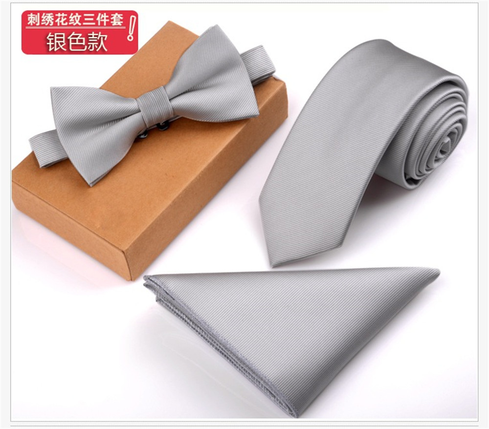 Cityraider Brand Designer Solid Silver Silk Ties For Men Neckties Bow Tie And Pocket Square With Necktie Match 3pcs Set Ld100 A Plastic Case Is Compartmentalized For Safe Storage Apparel Accessories