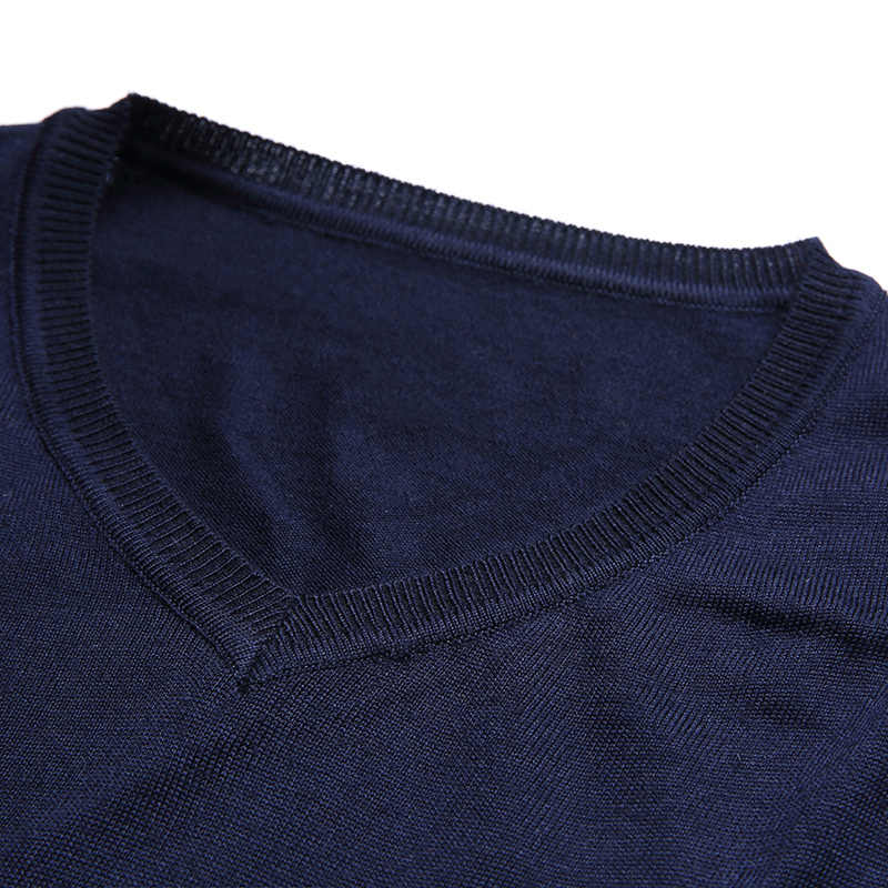 Liseaven hombres suéter con cuello en V suéteres hombres rayas patrón manga larga algodón Tops hombres pulóveres