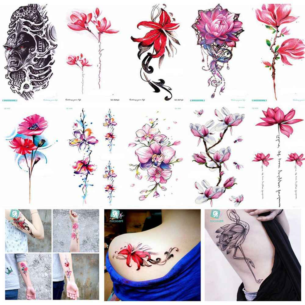 1 Pcs Fashion Waterproof Sweat Disposable Tattoo Sticker Colorful Flowerbow Flamingo Temporary Tattoo Women Body Art Sticker