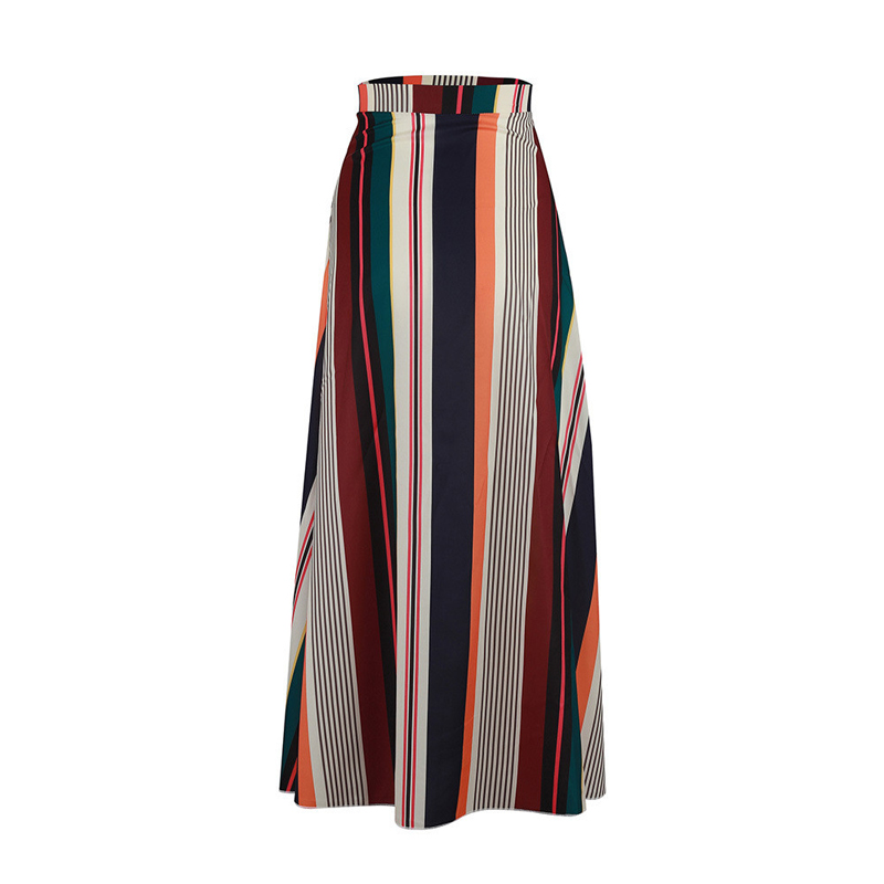 Elegant Skirts Womens Vintage Patchwork Elastic Waist Striped Skirts Summer Beach Long Casual Skirts 2019 Hot Sale Autumn Womens
