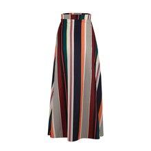 Elegante Röcke für frauen Vintage Patchwork Elastische Taille Striped Röcke Sommer Strand Lange Casual Röcke 2019 Heißer Verkauf Herbst Frauen