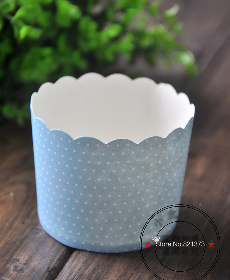 Free Shipping high quality large blue muffin cup, baking tools polka dot paper cups cupcake case liners tray for party birthday