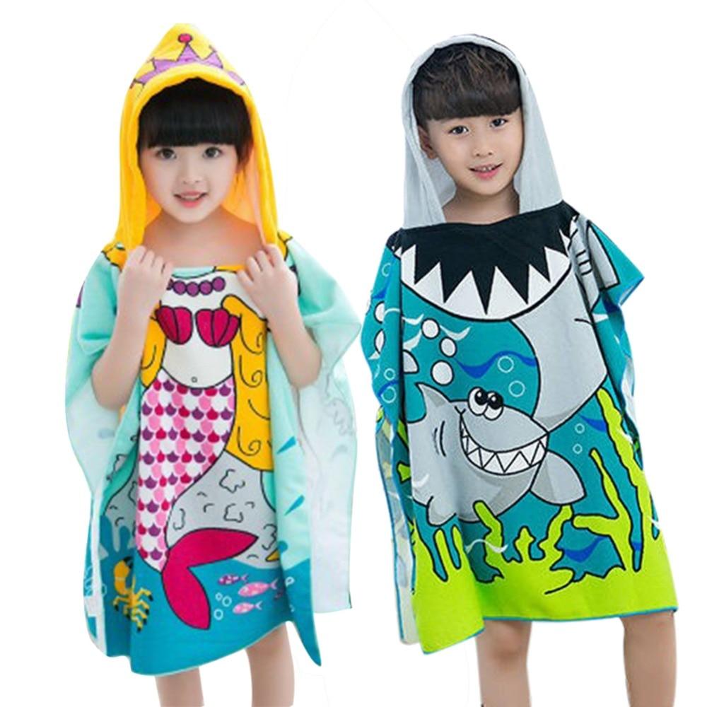 Disney Mermaid Cartoon Bathrobe Hooded Bath Towel Children Cotton Breathable Soft Baby Hooded Towel70*140cm Baby Care Bath & Shower Product