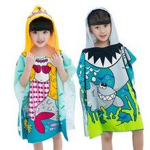 6ba402ddb34ed Enfants Polyester plage cape serviette enfants sirène requin motif dessin  animé à capuche serviette de bain pour bébé garçons fi.