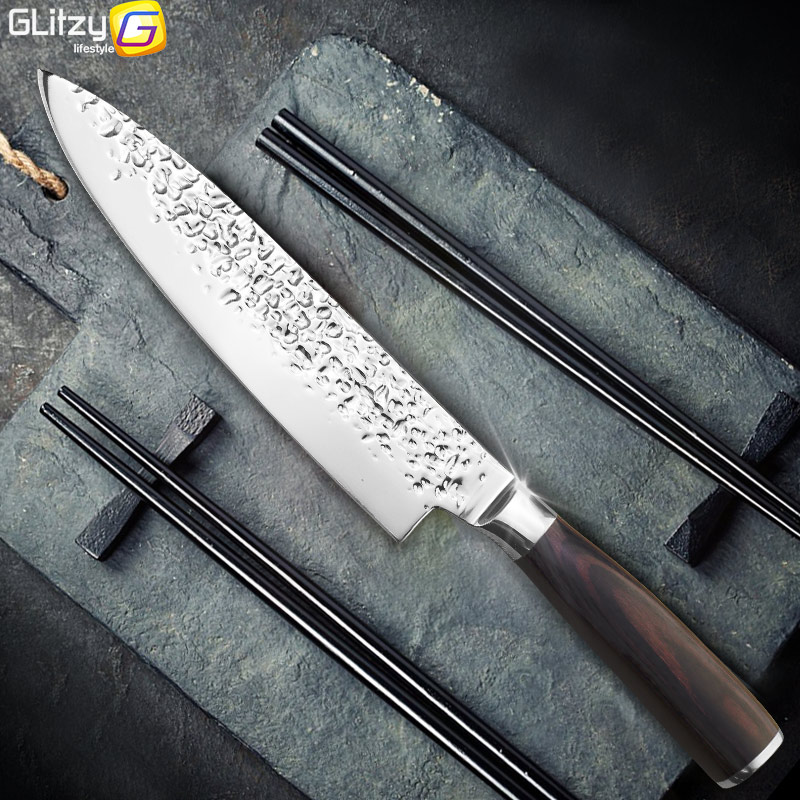 Kitchen Knife 8 inch Professional Chef Knives Japanese 7CR17 440C High Carbon Stainless Steel Meat Santoku Knife Pakka Wood