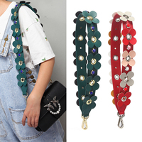 Genuine Leather Colorful Flower Replacement Shoulder Bag Straps PU Leather Purse Handles for Handbags Belt Bag Accessories 438
