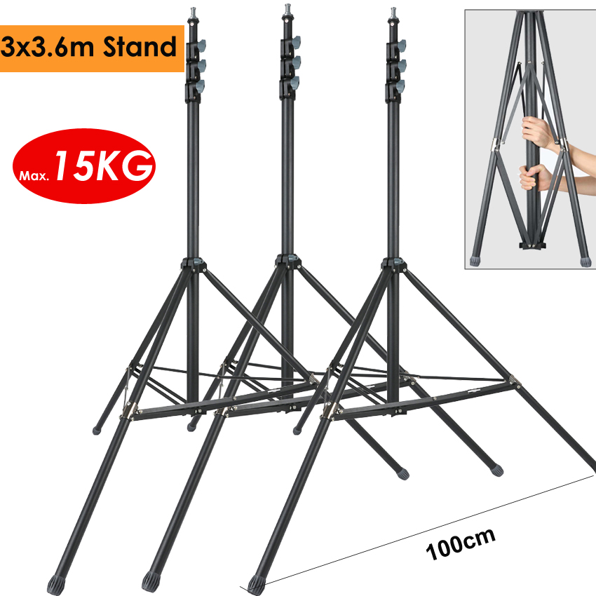 3x3.6m Heavy Duty Photo Video Steel Metal Light Stand Tripod Support Holder For Studio LED Lamp Softbox Backdrop Max Load 15KG