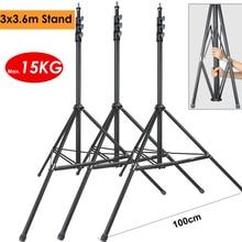 3 Pcs 3.6 M Heavy Duty Max Belasting 15Kg Foto Video Stalen Metalen Light Stand Statief Ondersteuning Houder Fr studio Led Lamp Softbox Achtergrond