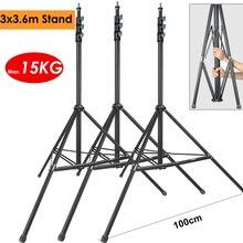3pcs 3.6m Heavy Duty Max Load 15KG Photo Video Steel Metal Light Stand Tripod Support Holder fr Studio LED Lamp Softbox Backdrop