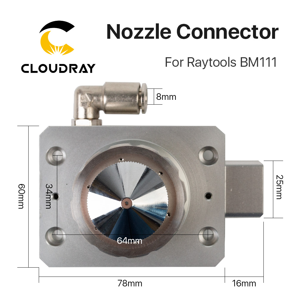 Cloudray Laser Machine Laser 1064nm Connector of For Nozzle Fiber Raytools Cutting BM111 Head