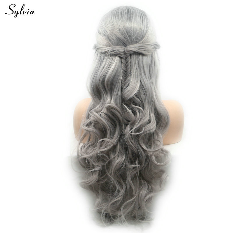 Sylvia Dark Roots Ombre Gray Synthetic Hair Lace Front Wig Long Body Wave Heat Resistant Fishtail Braids Wigs For Women Holidays