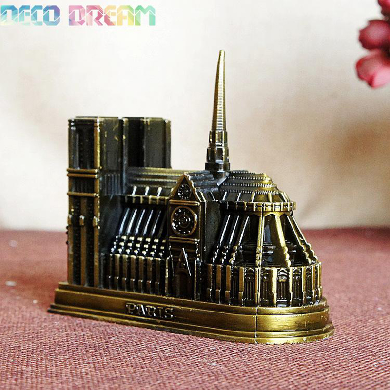 Deco Dream Vintage Home And Garden Decoration Metal Notre Dame De Paris European Modern Style Craft As A Hobby Gift For Familys in Figurines Miniatures from Home Garden