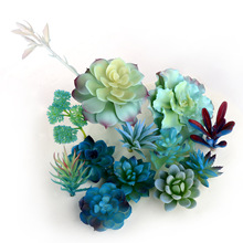 Синие Искусственные суккуленты, растения, Свадебный домашний цветок для украшения сада, композиции, аксессуары, бонсай, растения, искусственные растения