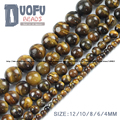 Tiger Eye beads Yellow Natural Stone Top quality Ore Round Loose beads ball 4/6/8/10/12MM handmade Jewelry bracelet making DIY