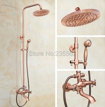 8 inch Rainfall Antique Red Copper Wall Mounted Rain Shower Faucet Set Bathroom Dual Handle Tub Mixer Tap Spout lrg513 стоимость