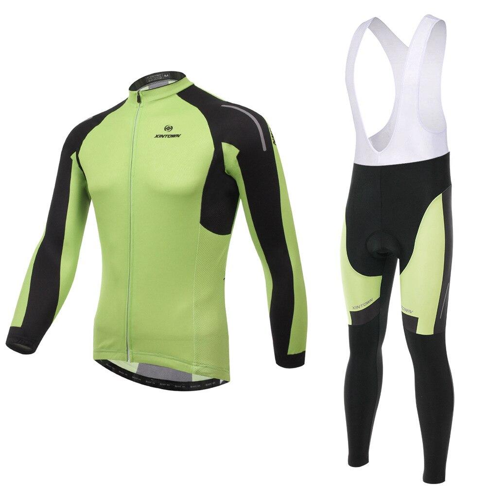 XINTOWN Yanqi green bike riding jersey gear strap long-sleeved suit wear bicycle suits fleece wind warm functional underwear