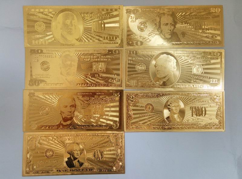 24k Gold Foil Banknote America Paper Money 7 Pcs Lot With