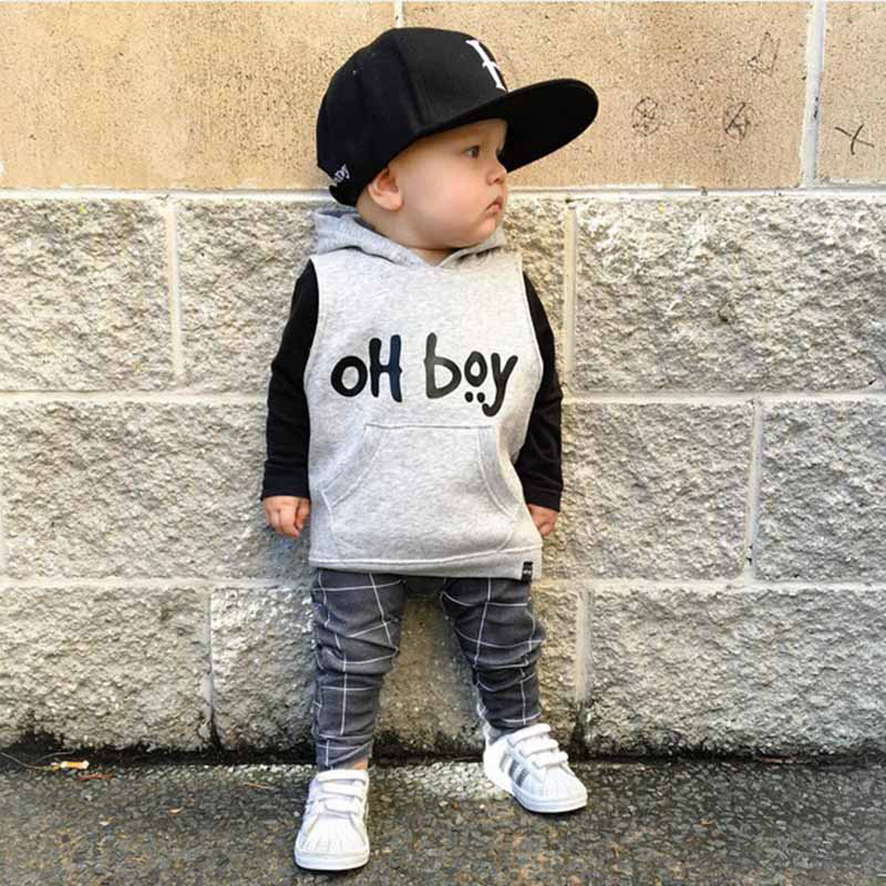 OH BOY outfit set / Hoody set / Plaid leggings