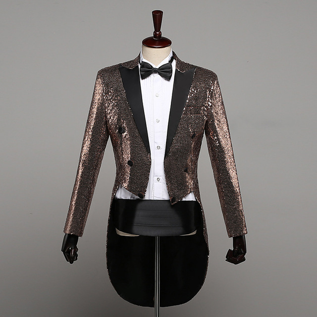 6 Colors Fashion Champagne Gold Silver Red Blue Black Sequins Tuxedo Swallowtail Coat Singers Paillette Jacket Costume Outfit