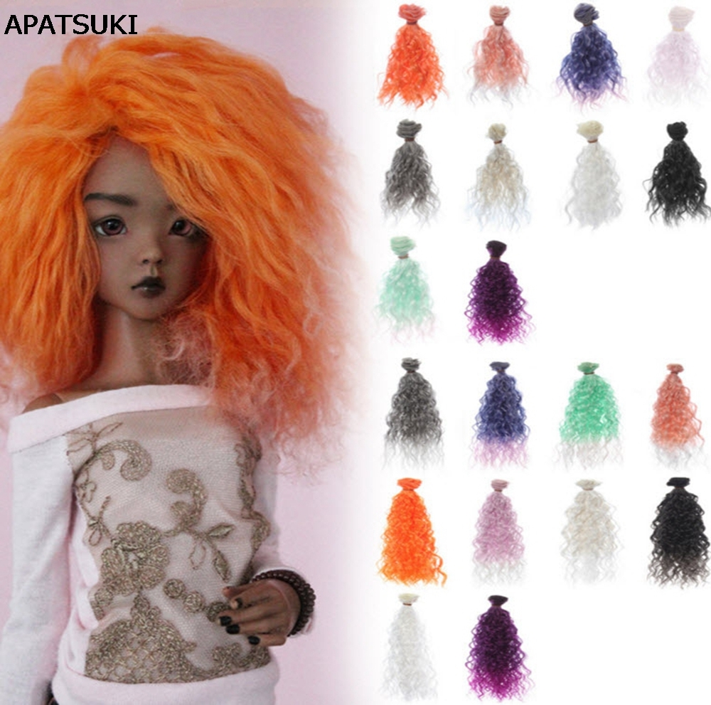 1pc High Quality Handmade Doll Wig BJD Doll Hair DIY High-temperature Wire Handmade Natural Curly Wigs Big Hair Curls 1 8 bjd sd doll wigs for lati dolls 15cm high temperature wire long curly synthetic hair for dolls accessorries high quality wig