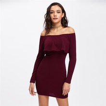 Long Sleeve Skinny Mini Sexy Dress Womens Autumn Winter Dresses Women Sexy Party Burgundy Off Shoulder Ruffle Bodycon Dress New(China)
