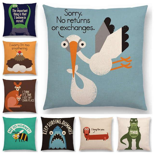 fa7cffadcdfc Funny Cartoon Animals Sofa Pillowcase Dinosaur Kangaroo Bee Dachshund Shark  Decorative Letters Cushion Cover