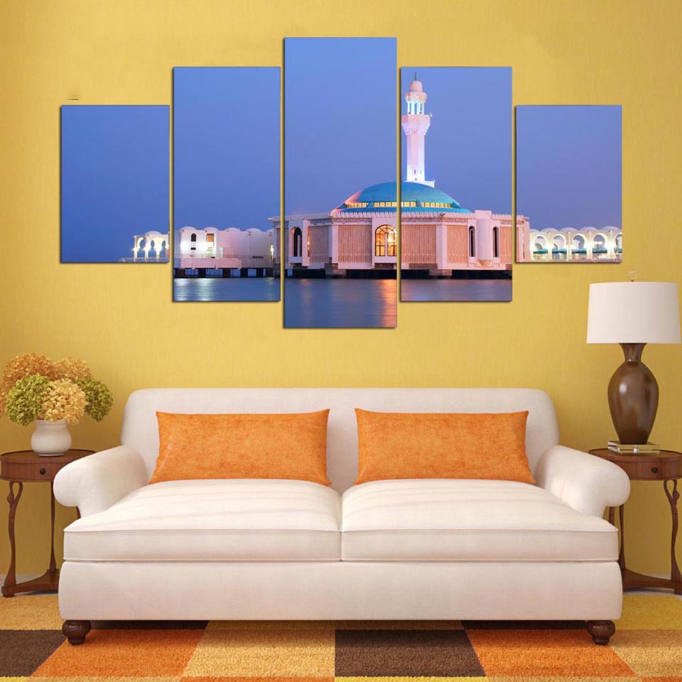 Home Decoration Posters Frame Living Room 5 PiecePcs Sea View Mosque Modern Painting On Canvas Wall Art Pictures HD Printed in Painting Calligraphy from Home Garden