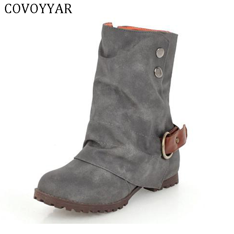COVOYYAR 2018 Autumn Winter Shoes Women Flat Buckle Ankle Boots Women Vintage Fur-lined Casual Western Boots Big Size WBS432 faux fur lined flat ankle boots