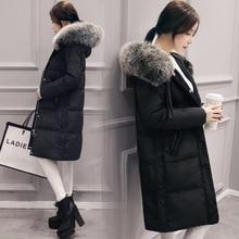Размеры S M L XL 2XL Размеры 100% реального утка Пух зимние женские куртки модные в Корейском стиле до колена Уплотненное пальто Черный, серый
